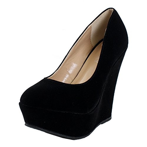- Delicacy Trendy-33 Slip On Platform High Heel Pump - Round Toe Wedges Shoes for Women, Black Suede, 10