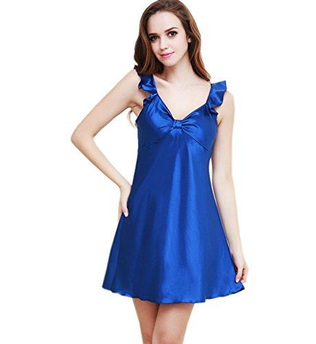 Surenow Camisón Pijama Albornoz para Mujer Sin Manga Saten Suave Ropa para Dormir azul