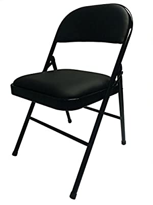 Realspace(R) Vinyl Padded Folding Chair, 29 3/4in.H x 18 1/2in.W x 19 5/8in.D, Black