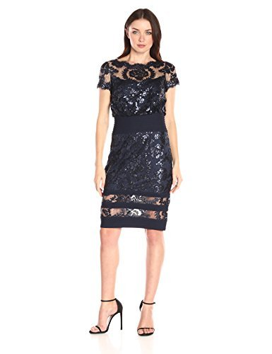 Tadashi Shoji Women's Short Sleeve Sequin Embroidered Blouson Dress, Navy, 4 ()
