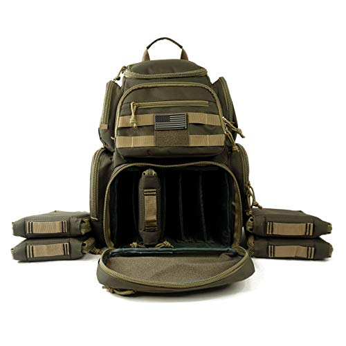 K-Cliffs Shooting Range Pistol Backpack | Up to 5 Handguns | Dedicated Mag Storage | Olive (Best Handgun To Start With)