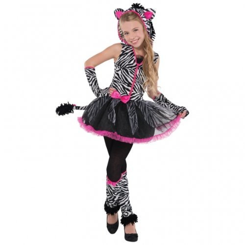 12 - 14 Years Girl's Sassy Stripes Zebra Costume]()