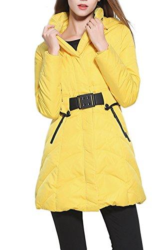 Elegante capucha abajo chaqueta mujer con cinturón