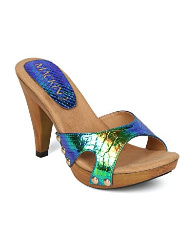 Green Toe by Sandal Heel HH06 Collection MackinJ Out Snakeskin Peacock Iridescent Open Mix Media Cut Alrisco Women p8qvI608