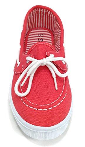 Verrukking Canvas Veter Platte Slip Op Boot Comfy Ronde Neus Sneaker Tennisschoen Koraal