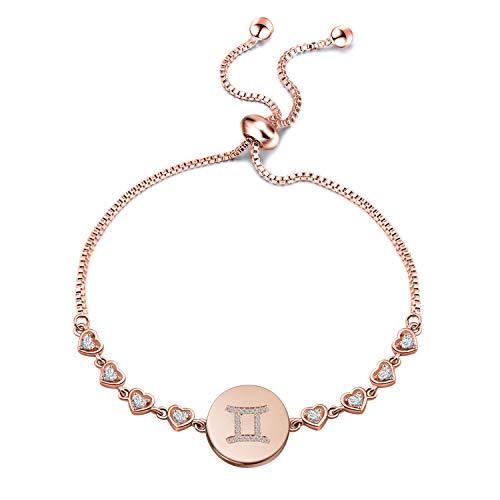 ENSIANTH Rose Gold Zodiac Sign Adjustable Bracelet Birthday Gift for Women Girls (BR-Gemini)