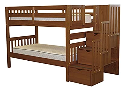 Bedz King Stairway Bunk Bed Twin over Twin with 3 Drawers in the Steps, Expresso