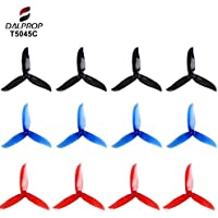 Crazepony 12pcs DALPROP T5046C 5 Inch 3-Blades CW CCW Tri-Blade Propeller, Best Match for 200 210 230 250 FPV Racing Drone Quadcopter Frame Kit (Black Red Blue)