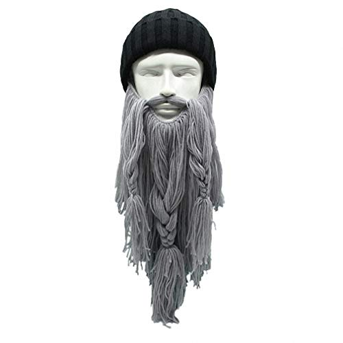Tebapi Unisex Skullies Beanies Funny Handmade Women Men Wool Mustache Knitted Hats Face Mask Wig Beard Beanies Bonnet Caps Button Connected 012]()