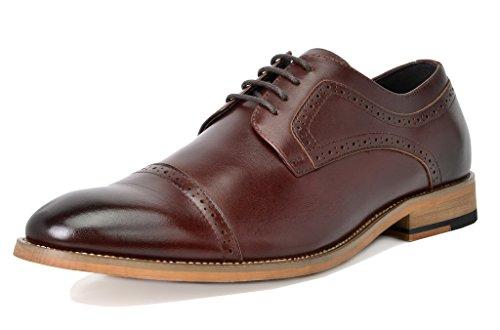 Bruno Marc Mens Waltz Italien Robe En Cuir Véritable Robe Oxfords Chaussures 1-brun Foncé