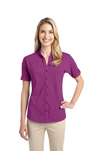 's Stretch Pique Button Front Shirt L Pink Bloom ()