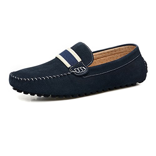 Men's Driving Loafers Suede : Genuine Leather Penny Moccasins Slip-on Boat Shoes (Color : Suede Navy, Size : 9 MUS) B07FMJ751Q Shoes 85ef53