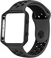 UMTELE for Fitbit Blaze Bands, Sport Silicone Replacement Strap with Rose Gold/Gunmetal Frame for Fitbit Blaze Smart...