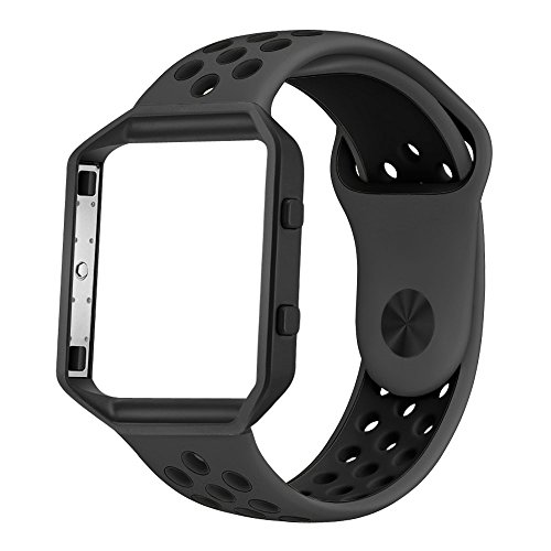 UMTELE Soft Silicone Replacement Strap with Black Frame for Fitbit Blaze Smart Fitness Watch, Small, - Black Blaze