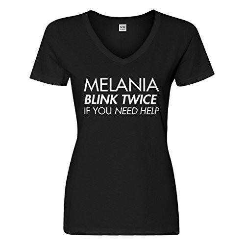 Indica Plateau Vneck Melania Blink Twice if You Need Help! XX-Large Black Womens T-Shirt