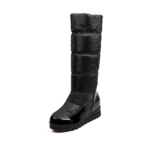 Toe Boots Heels Closed Pull Allhqfashion Kitten Black top on Women's Solid Round High 04FqqcPvW8