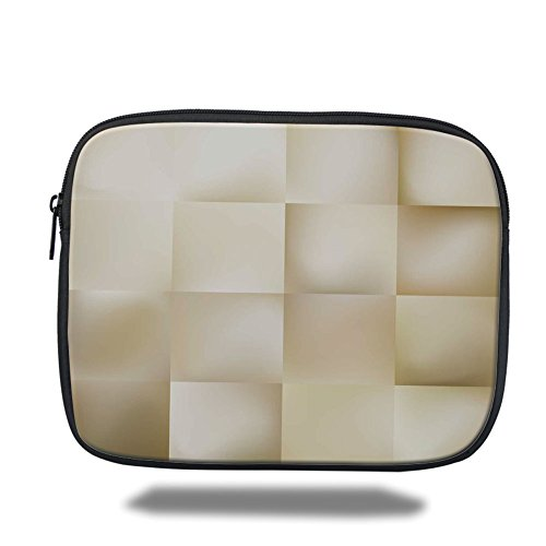 Laptop Sleeve Case,Ivory,Abstract Square Shaped Geometric Fractal Pattern Modern Shady Tone Artistic Display,Cream Beige,iPad Bag by iPrint