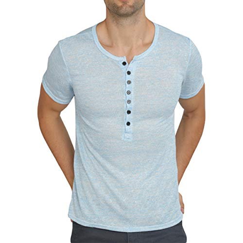 WULFUL Men's Casual Slim Fit Henley Shirt Lightweight Short Sleeve Summer T-Shirt