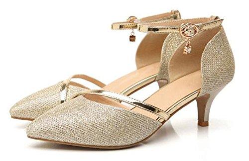 de Bout Femme WUIWUIYU Chaussures Escarpins Mariage Cérémonie Fermé Doré vHOw6Xxwq
