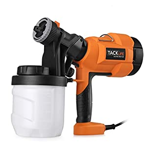 Paint Sprayer 800ml/min, Tacklife Electric Spray Gun with Three Spray Patterns, Three Nozzle Sizes, Adjustable Valve Knob, Quick Refill Lid and 900ml Detachable Container - Ideal Father's Day Gifts