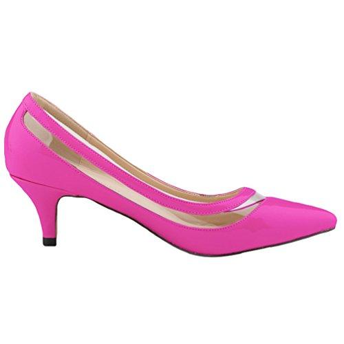 bajo de WanYang Transparente Zapatos Toe Trabajo Tacón Morado Tacón Vestir de Mujer Aguja Pointed AqAw0CY