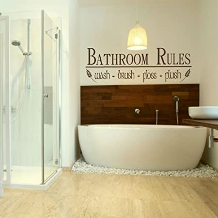 LaoGraphics® Bathroom Rules Flush Wash Floss Brush Quote Wall ...