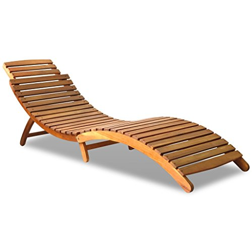 Hardwood Chaise (Festnight Outdoor Foldable Chaise Lounger Chair Wood)