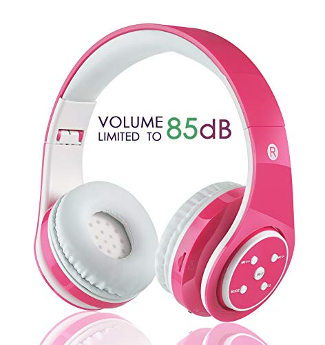 Kids Wireless Bluetooth Headphone with Microphone Volume Limited Foldable Earphone Children Stereo On Ear Headset for PC/TV/Tablets/Smartphones (Pink)