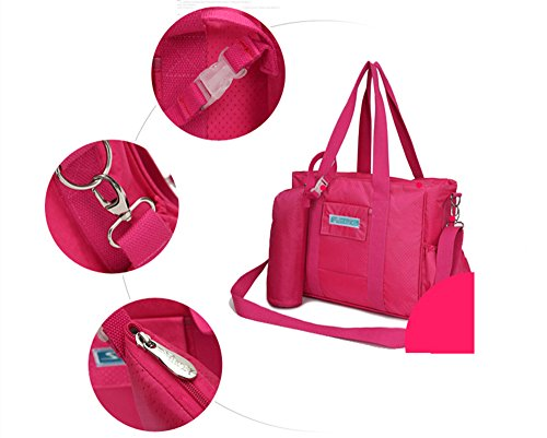 Bolsas de la momia, multi-funcional de gran capacidad de la mochila femenina, materna e infantil bolsas de bebé, las mujeres embarazadas salen a empacar ( Color : Rosa Roja ) Purple