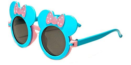WebDeals - Kids Mouse Ear Round Flip Out Sunglasses (Light Blue/Pink - Sunglasses Disney