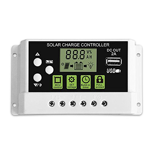 MOES PWM Solar Charge Controller Solar Regulator for Lithium Lead-acid Battery with 2A USB Output LCD Display 12V/24V Auto 10A 30A (30A) by MOES