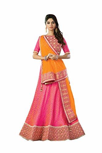 IWS Womens Silk Fabric Pink Pretty Circular Lehenga Style 80149