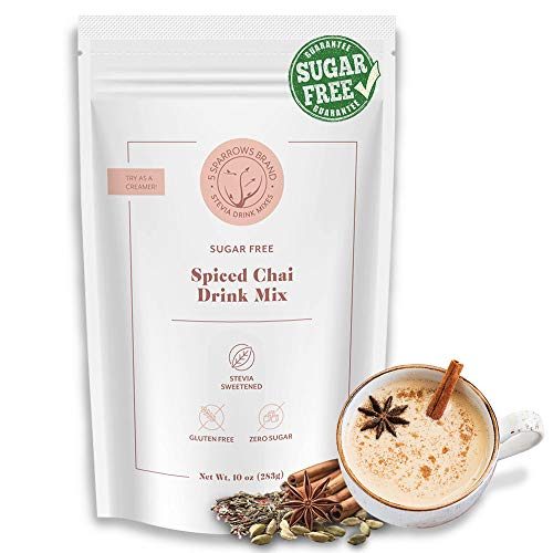 5 SPARROWS Sugar-Free Spiced Chai Latte Flavored Drink Mix, Naturally Sweetened with Stevia & Erythritol – Zero Sugar…