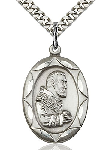 - Heartland Store Men's Oval Saint Padre Pio Medal + 24 Inch Endless Rhodium Plated Chain