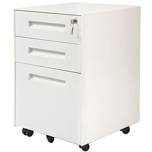 Two Locking Pedestals - ModernLuxe Mobile Metal File Cabinet with 3 Lockable Drawers and 2 Locking Castors (White)