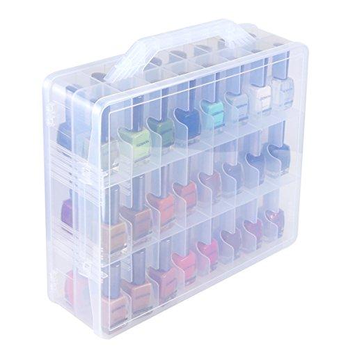 Price comparison product image Kissbuty Universal Nail Polish Holder Organizer for 48 Bottles Adjustable Dividers Space Saver