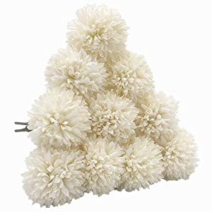 SHINE-CO LIGHTING Artificial Chrysanthemum Ball Flowers Hydrangea Bouquet 10pcs Present for Friends Decor for Home Office Coffee House Parties and Wedding (Milk White) 13