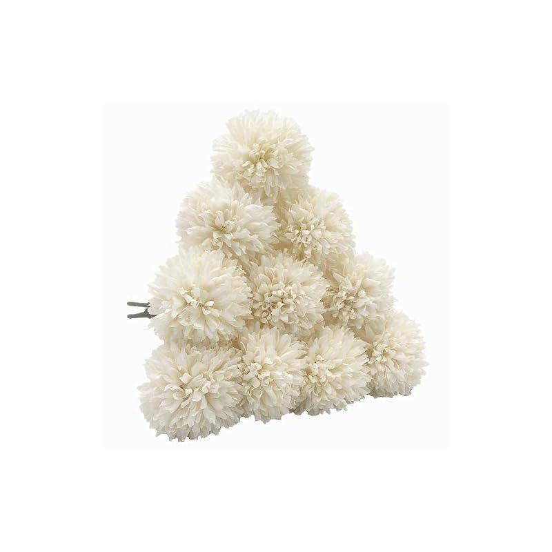 silk flower arrangements artificial chrysanthemum ball flowers hydrangea arrangement bouquet 10pcs present for friends decor for home office coffee house parties and wedding (milk white)