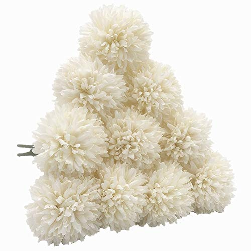 SHINE-CO LIGHTING Artificial Chrysanthemum Ball Flowers Hydrangea Bouquet 10pcs Present for Friends Decor for Home Office Coffee House Parties and Wedding (Milk White)]()
