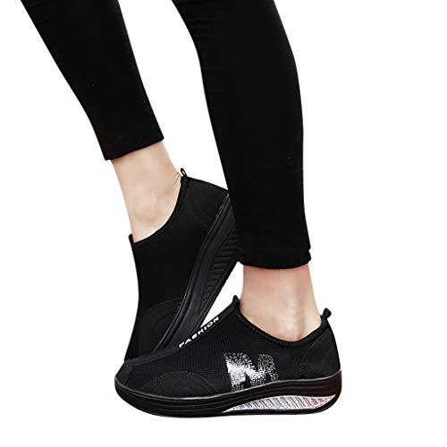 (HTHJSCO Ladies Toning Rocker Shoes Womens Mesh Slip On Wedges Platform Walking Shoes Breathable Casual Shoes Sneakers (7, Black))