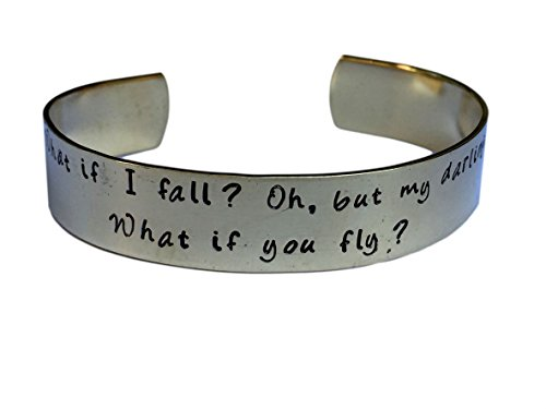 What If I Fall Oh But My Darling What If You Fly | Hand Stamped | Encouragement Cuff Inspirational Jewelry Cuff Bracelet in Brass