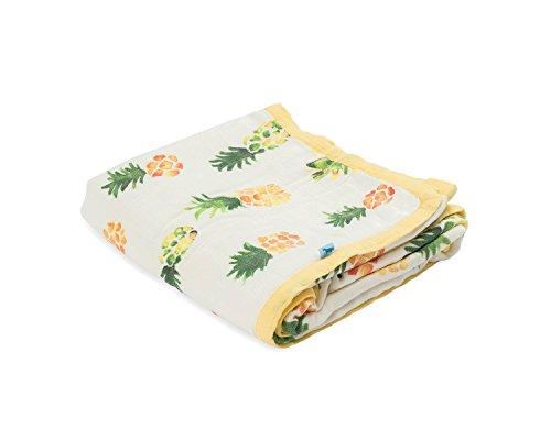 - Little Unicorn Deluxe Muslin Blanket Quilt - Pineapple, Yellow, Green