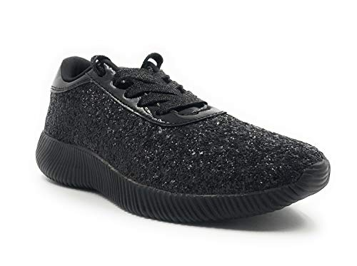 Forever Link Women's Light Weight Glitter Lace UP Fashion Sneaker Shoes Black 7 M US (Best Shoes To Wear With Black Leggings)