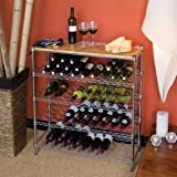 Vancouver Classics SHE16475 96-Bottle Steel Wine Rack with Bamboo Serving Shelf