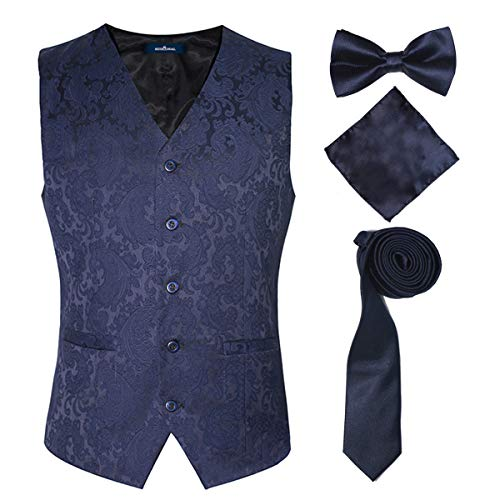 (Blue Slim Fit Suit Vest and Tie for Men on Wedding Party Work Hotel Kitchen,Blue,M)