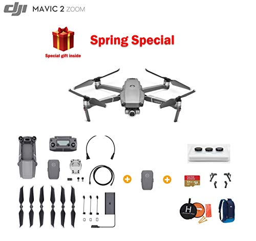 DJI Mavic 2 Zoom Drone Quadcopter with Extra Battery, Ultimate Bundle, with 64GB SD Card, Filter Set, Landing Pad, Landing Gear and Backpack