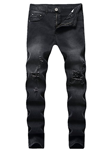 Men's Black Ripped Distressed Skinny Fit Fashion Stretch Denim Jeans 8017