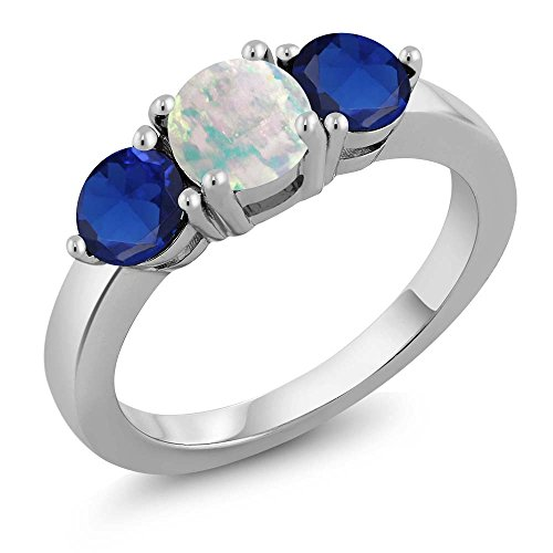 Sapphire Cabochon Ring (1.85 Ct Round Cabochon White Simulated Opal Blue Simulated Sapphire Silver Ring)