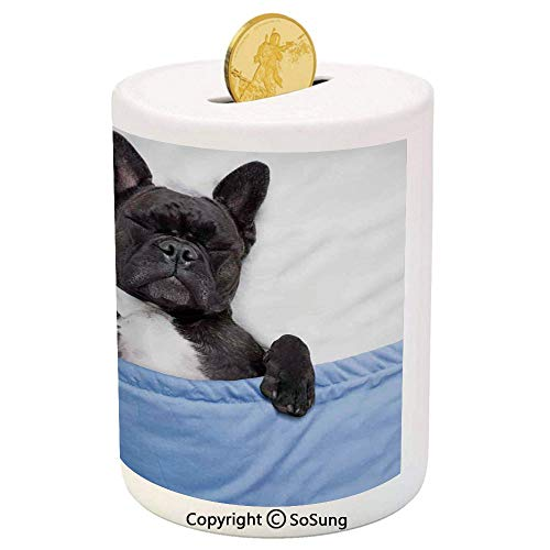 (Animal Decor Ceramic Piggy Bank,French Bulldog Sleeping with Teddy Bear in Cozy Bed Best Friends Fun Dreams Image 3D Printed Ceramic Coin Bank Money Box for Kids & Adults,Multi)