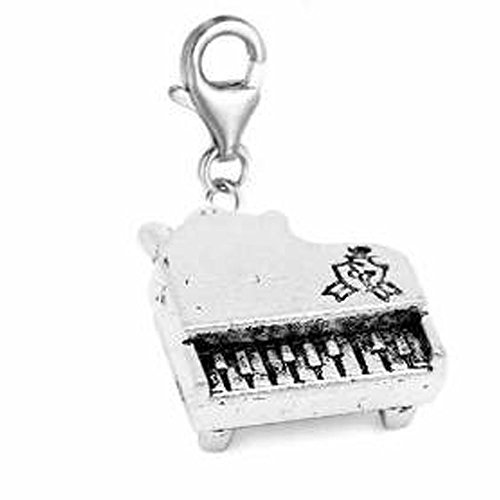 SEXY SPARKLES Clip on Piano Charm Pendant for European Jewelry with Lobster Clasp